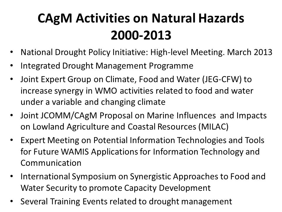 CAgM Activities on Natural Hazards 2000-2013