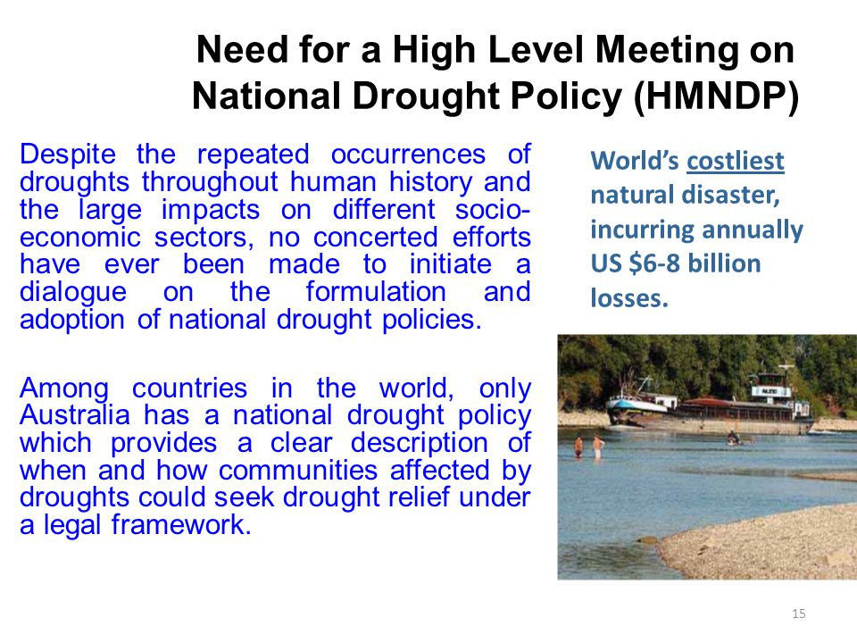 Need for a High Level Meeting on National Drought Policy (HMNDP)
