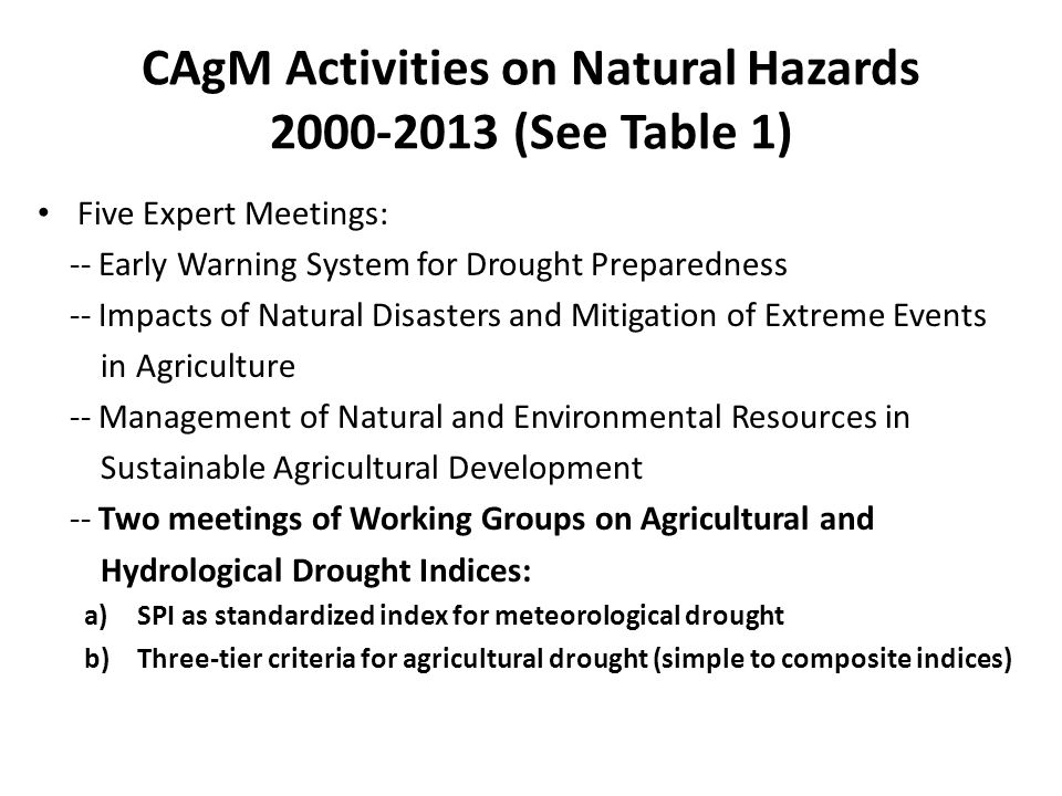 CAgM Activities on Natural Hazards 2000-2013 (See Table 1)