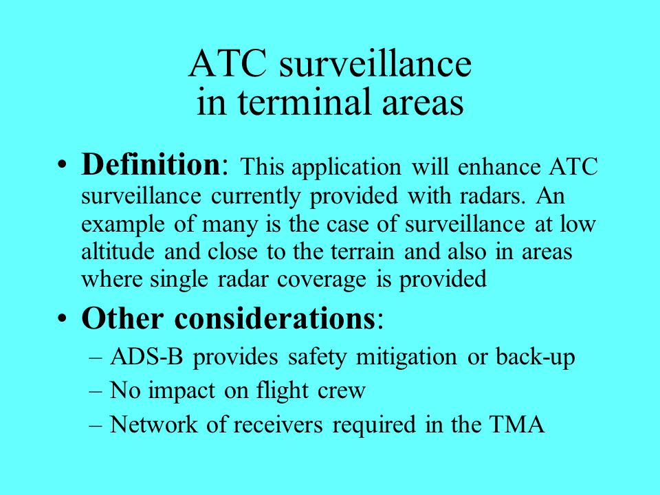 ATC surveillance in terminal areas