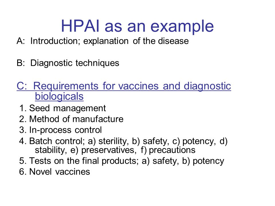 HPAI as an example A: Introduction; explanation of the disease. B: Diagnostic techniques.