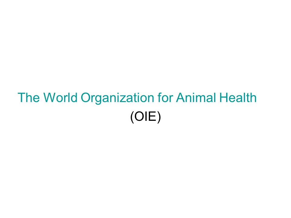The World Organization for Animal Health