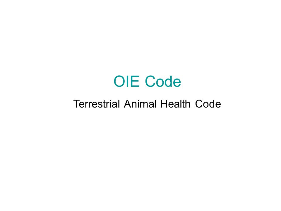Terrestrial Animal Health Code