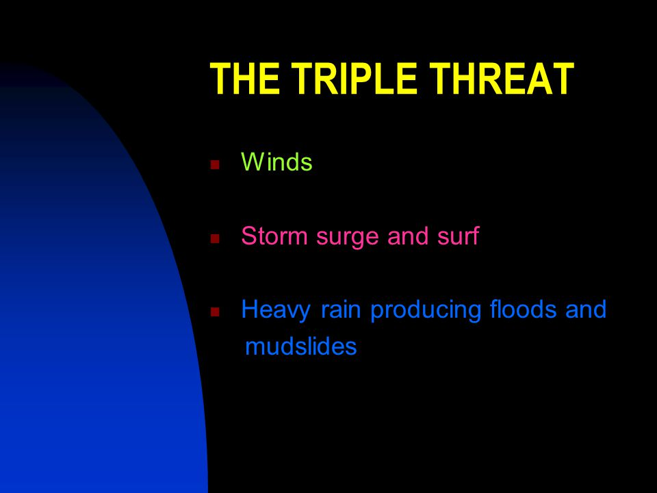 THE TRIPLE THREAT Winds Storm surge and surf
