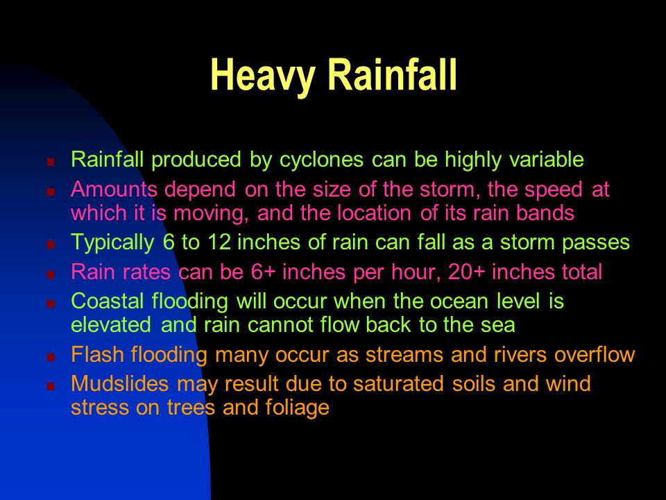 Heavy Rainfall Rainfall produced by cyclones can be highly variable