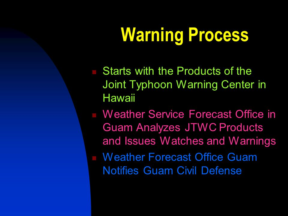 Warning Process Starts with the Products of the Joint Typhoon Warning Center in Hawaii.
