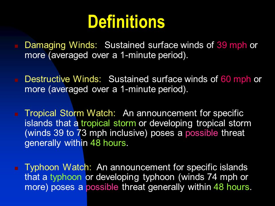 Definitions Damaging Winds: Sustained surface winds of 39 mph or more (averaged over a 1-minute period).