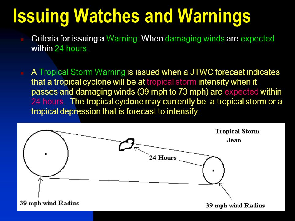 Tropical storm warning definition