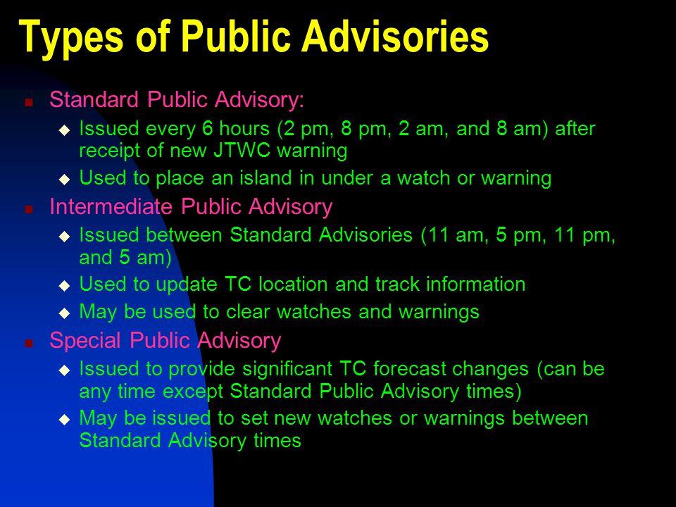 Types of Public Advisories