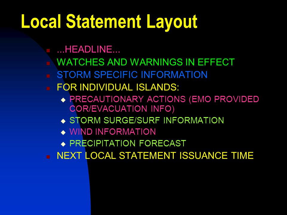 Local Statement Layout