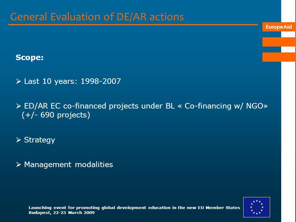 General Evaluation of DE/AR actions