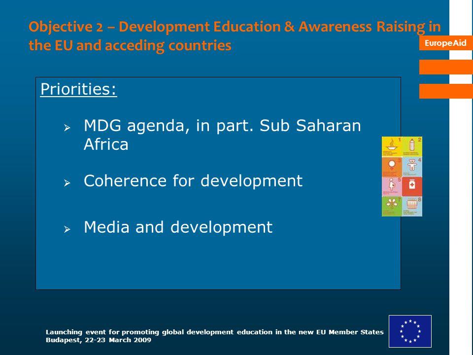 MDG agenda, in part. Sub Saharan Africa