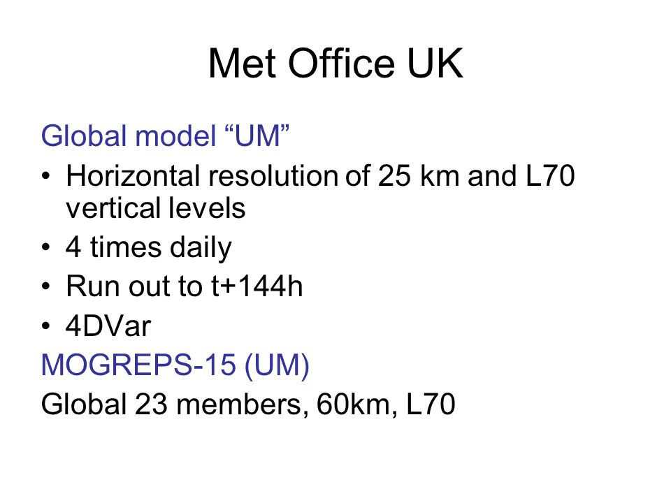 Met Office UK Global model UM