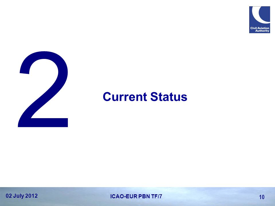 2 Current Status 02 July 2012 ICAO-EUR PBN TF/7