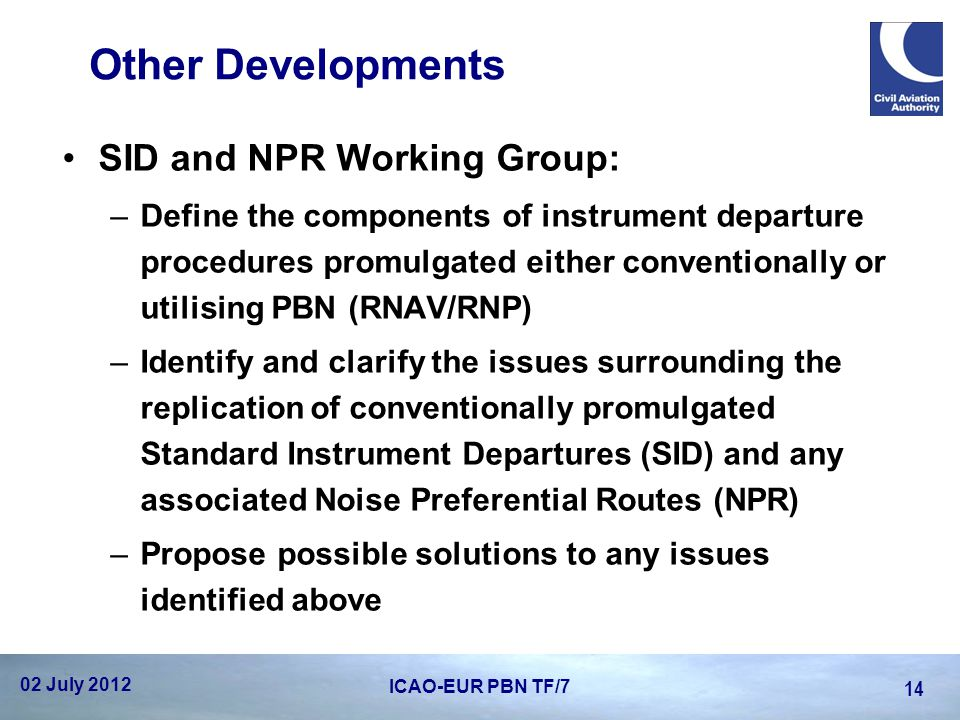 Other Developments SID and NPR Working Group: