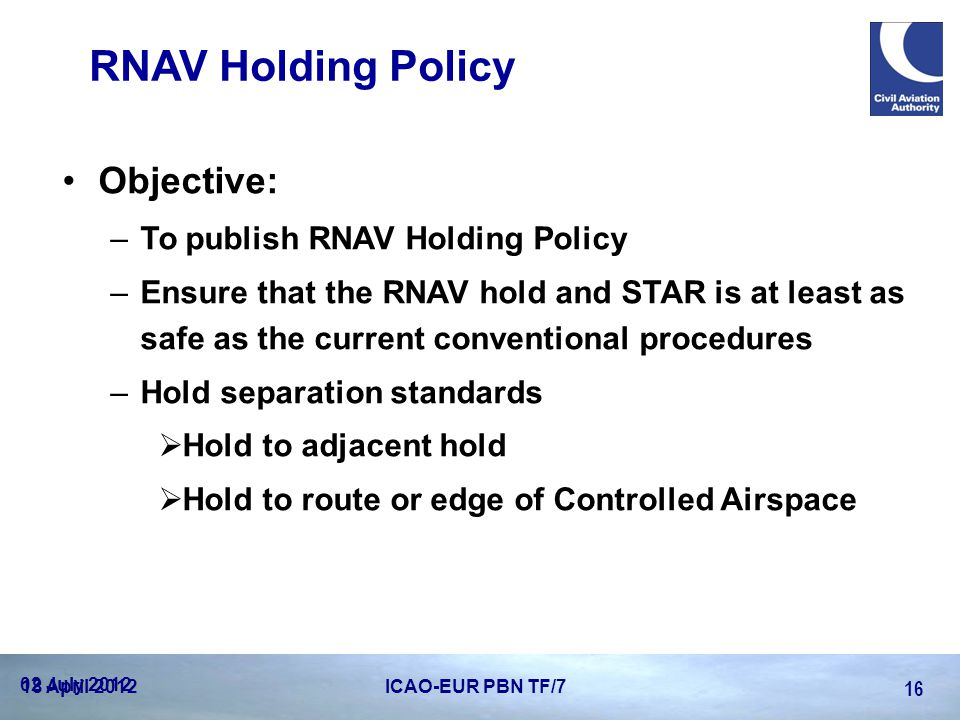 RNAV Holding Policy Objective: To publish RNAV Holding Policy