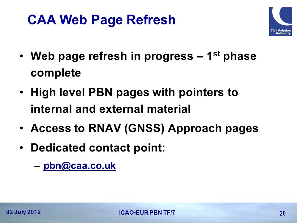 CAA Web Page Refresh Web page refresh in progress – 1st phase complete
