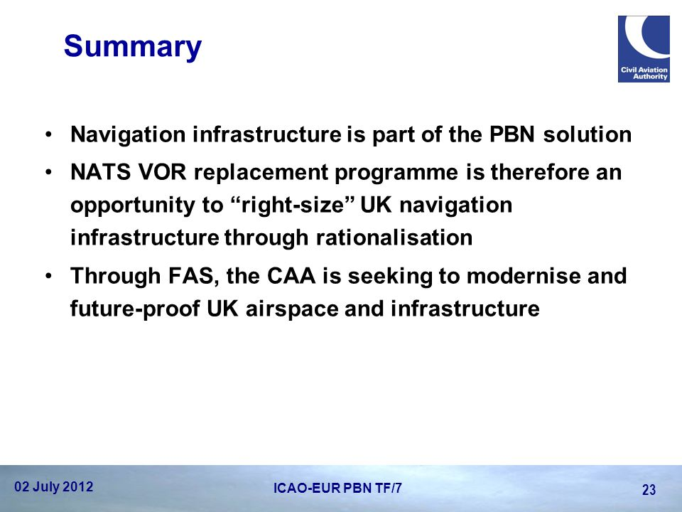 Summary Navigation infrastructure is part of the PBN solution