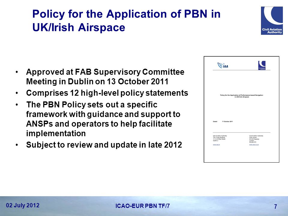 Policy for the Application of PBN in UK/Irish Airspace