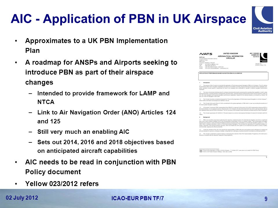 AIC - Application of PBN in UK Airspace