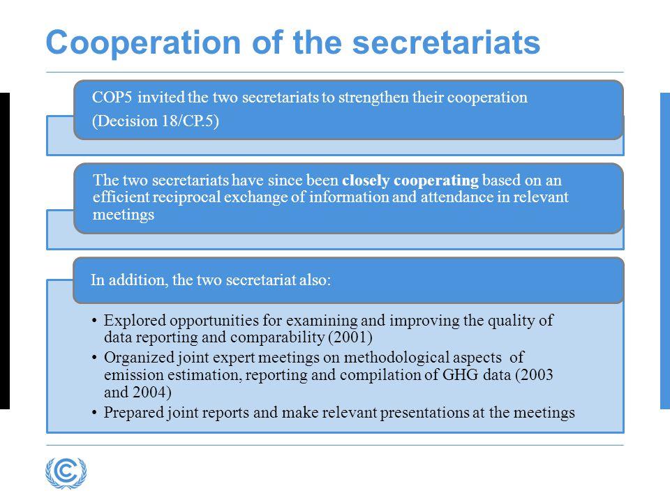 Cooperation of the secretariats