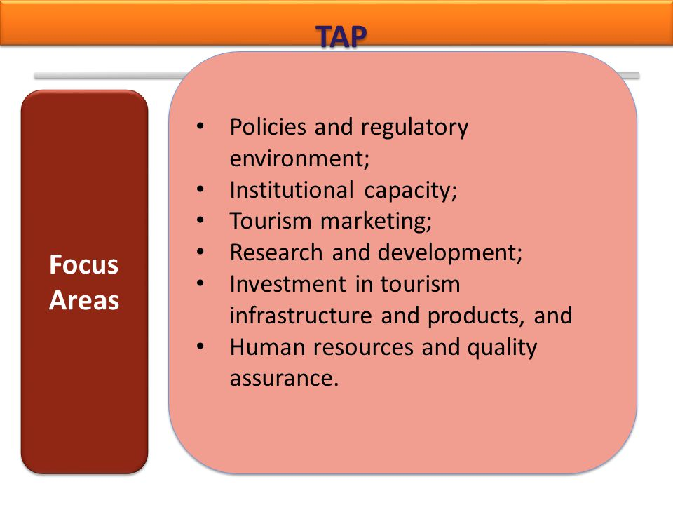 TAP Focus Areas Policies and regulatory environment;