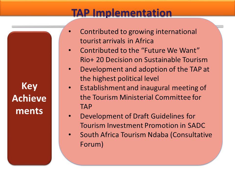 TAP Implementation Key Achievements