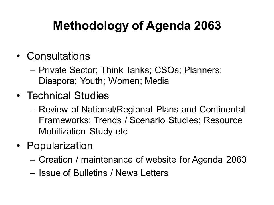 Methodology of Agenda 2063 Consultations Technical Studies