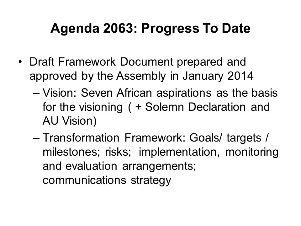 Agenda 2063: Progress To Date