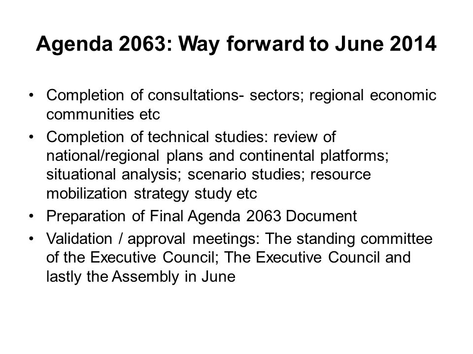Agenda 2063: Way forward to June 2014