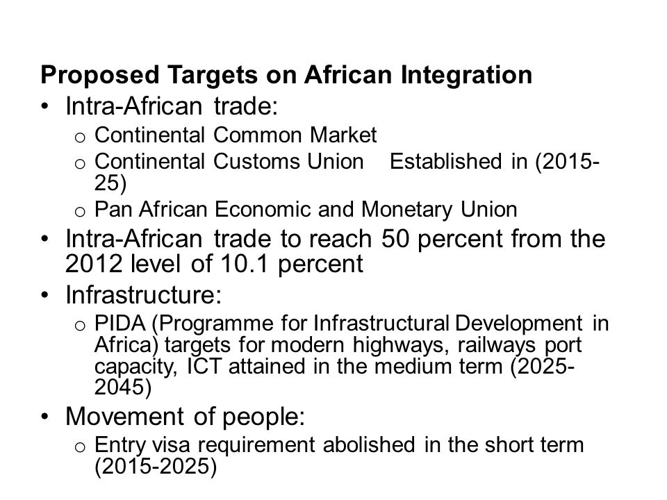 Proposed Targets on African Integration Intra-African trade: