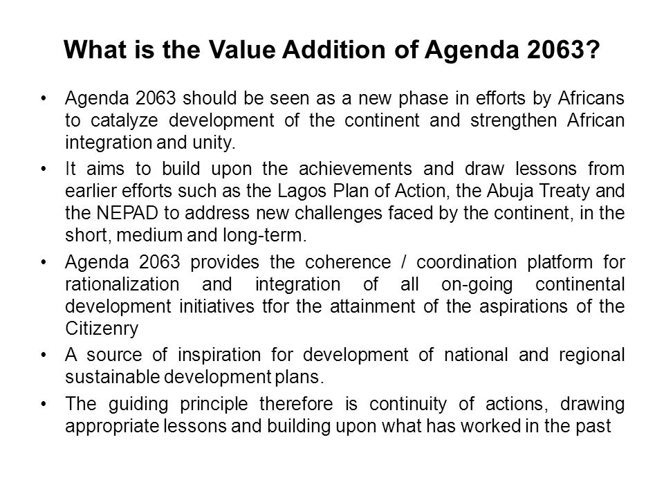 What is the Value Addition of Agenda 2063