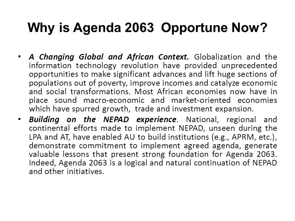 Why is Agenda 2063 Opportune Now
