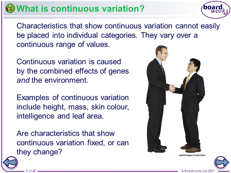 What is continuous variation