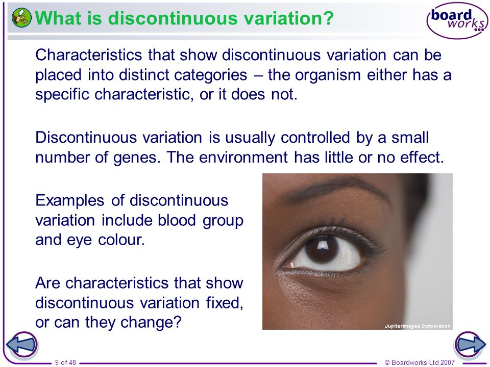 What is discontinuous variation