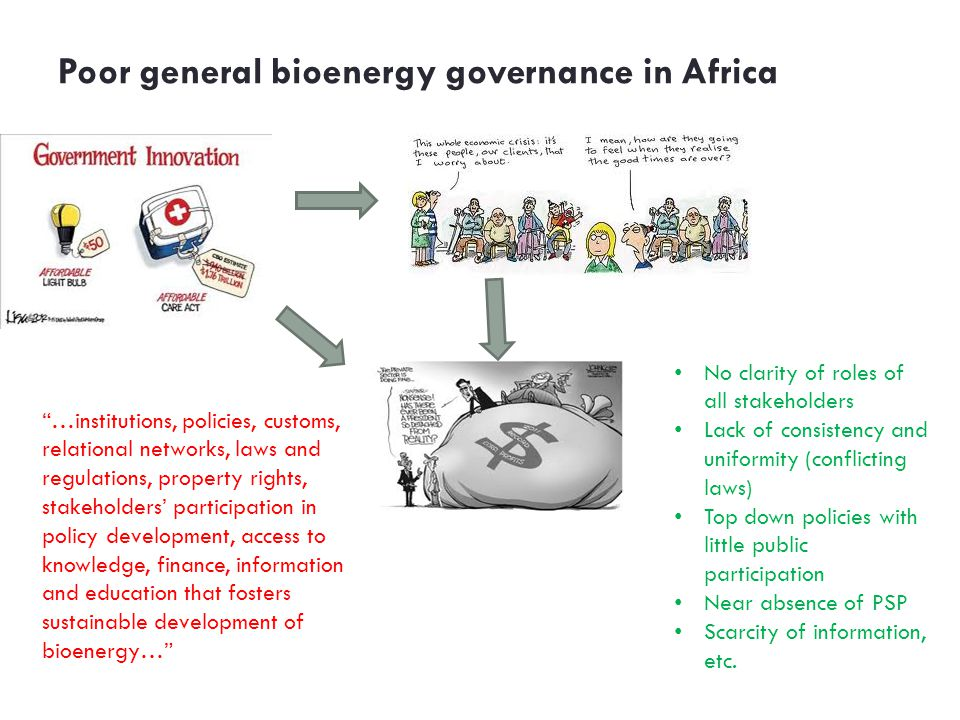 Poor general bioenergy governance in Africa