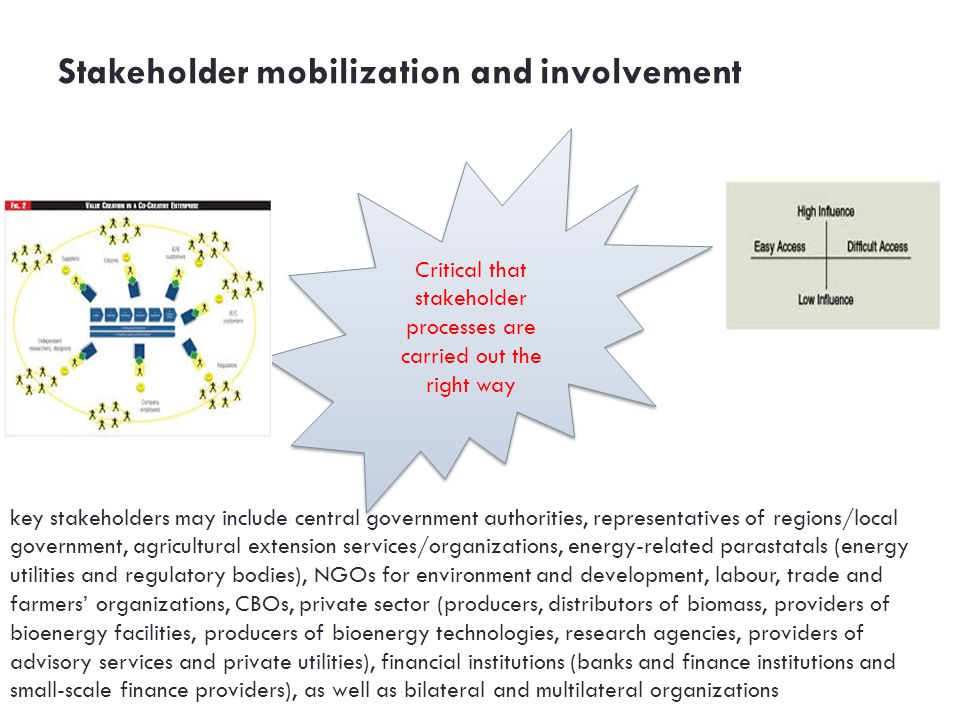Stakeholder mobilization and involvement