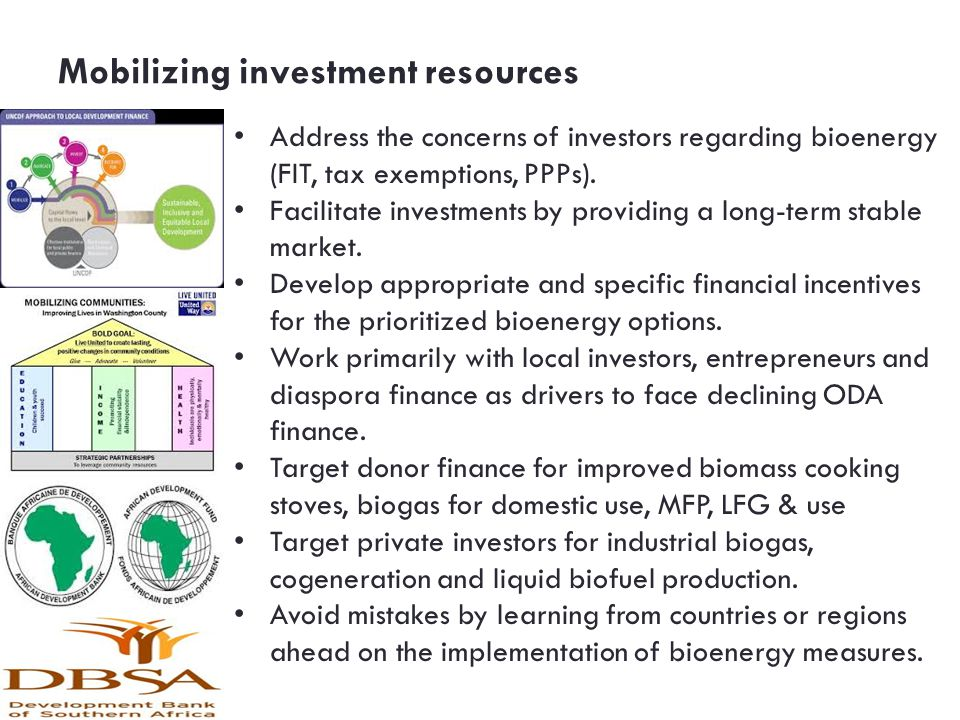Mobilizing investment resources
