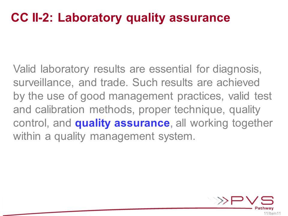 CC II-2: Laboratory quality assurance