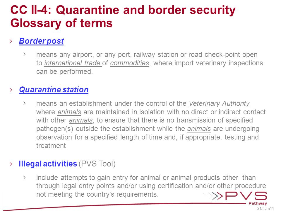 CC II-4: Quarantine and border security Glossary of terms
