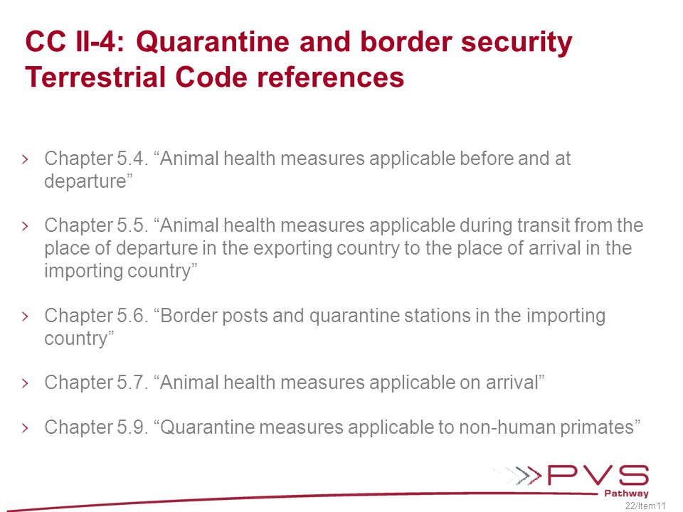 CC II-4: Quarantine and border security Terrestrial Code references