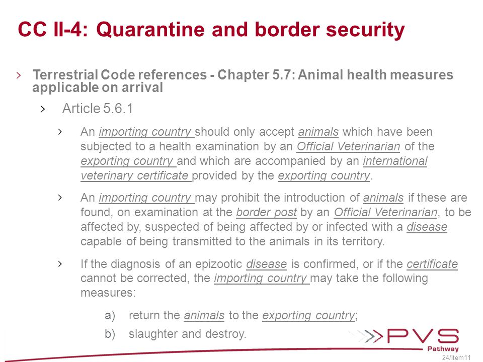 CC II-4: Quarantine and border security
