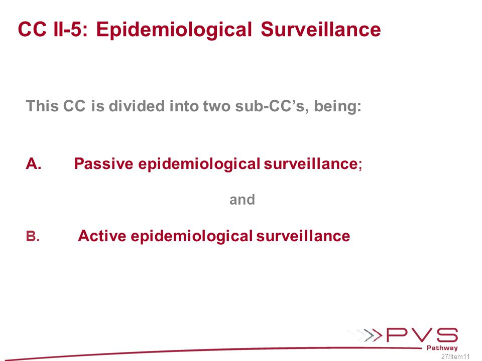 CC II-5: Epidemiological Surveillance