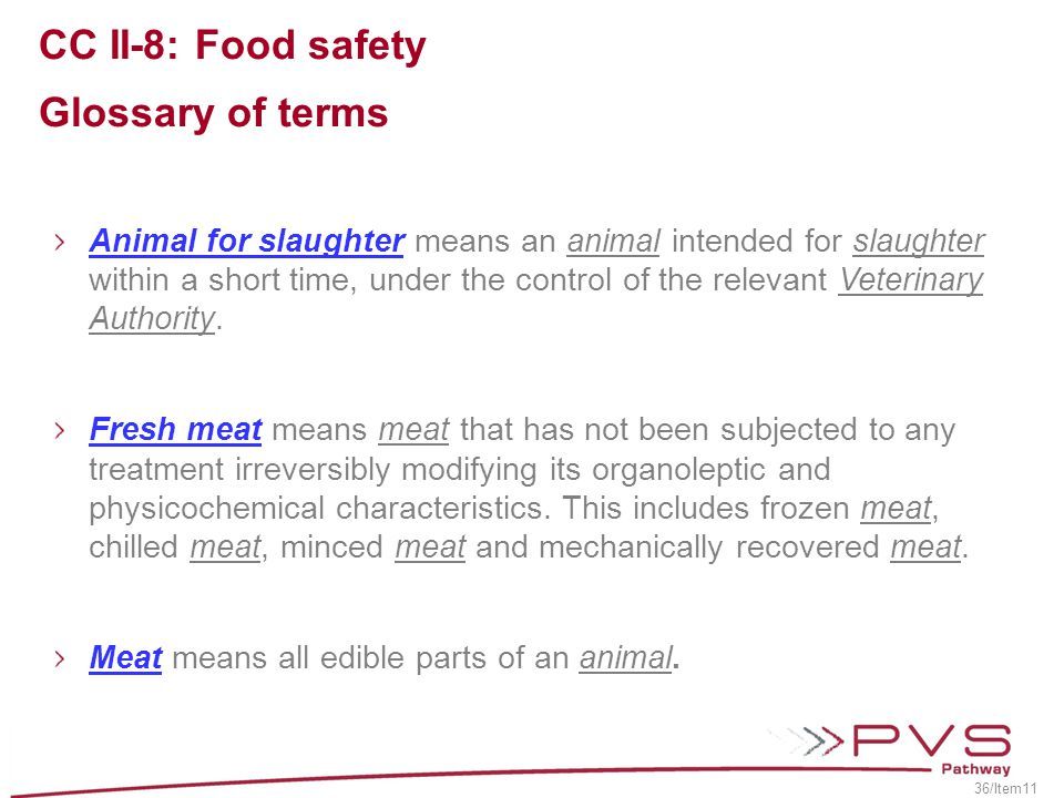 CC II-8: Food safety Glossary of terms