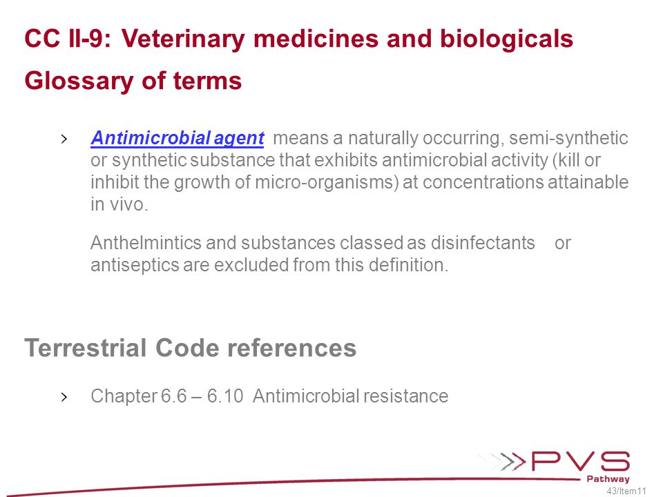 CC II-9: Veterinary medicines and biologicals Glossary of terms