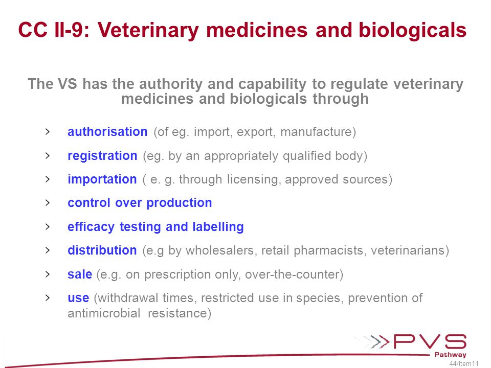 CC II-9: Veterinary medicines and biologicals