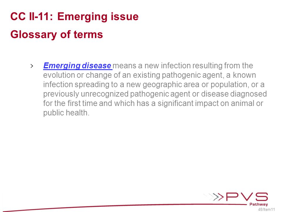 CC II-11: Emerging issue Glossary of terms