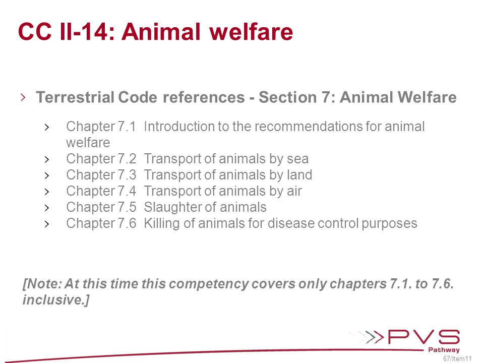 CC II-14: Animal welfare Terrestrial Code references - Section 7: Animal Welfare.