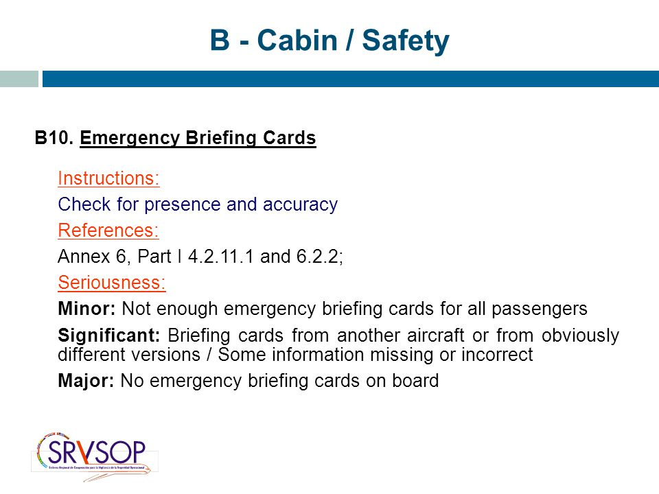 B - Cabin / Safety B10. Emergency Briefing Cards Instructions: