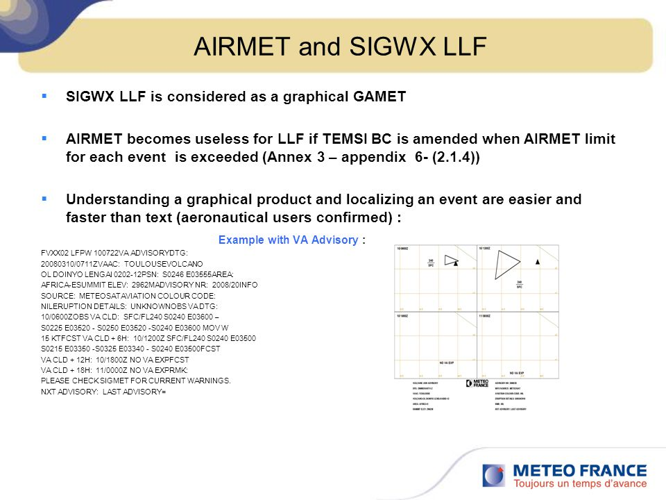 AIRMET and SIGWX LLF SIGWX LLF is considered as a graphical GAMET